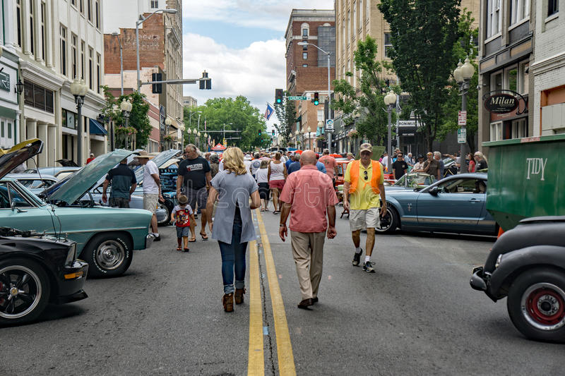 17th Annual Star City Motor Madness. Roanoke, VA – June 24th: Crowds at the Annual Star City Motor Madness Car and Truck Show located in Roanoke, Virginia royalty free stock photography