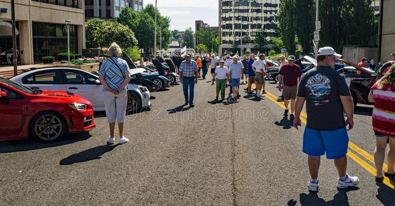 19th Annual Star City Motor Madness. Roanoke, VA, June 29th: Crowds at the 19th Annual Star City Motor Madness Car and Truck Show located in Roanoke, Virginia royalty free stock photo