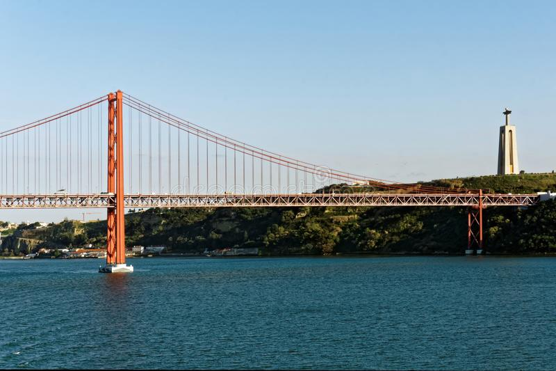 The 25th April Bridge, near Lisbon, Portugal royalty free stock photos