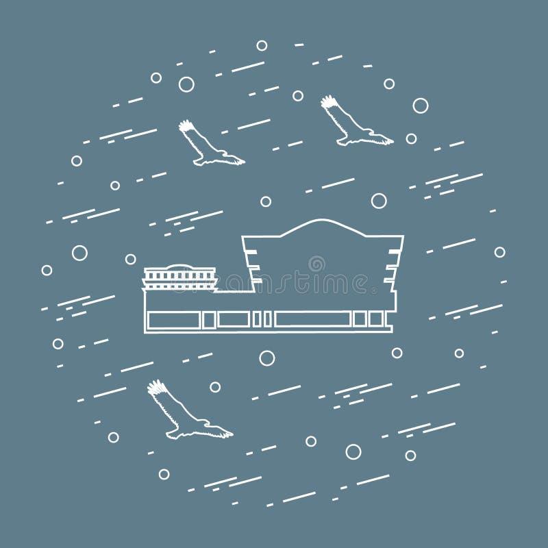 20th arkitektoniskt som blev landmarks lloyd lokaliserade manhattan som för symbol för utgångspunkt för guggenheim för öppenhjärt vektor illustrationer