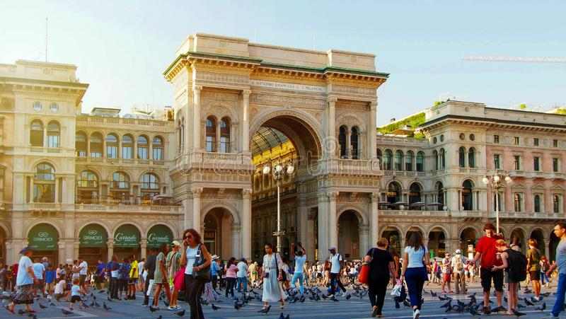 6th August, 2019 arch at the entrance of Galleria Vittorio Emanuele II, Cathedral in Milan, Italy royalty free stock image