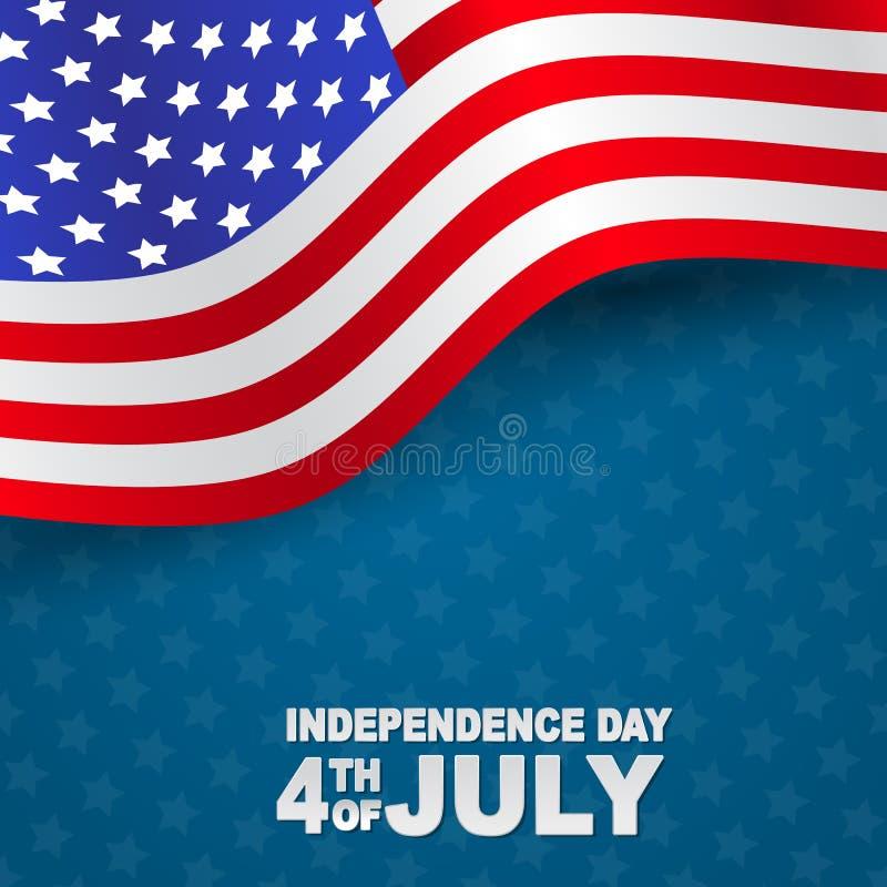4th av bakgrund för beröm för självständighetsdagen för Juli Förenta staterna nationell med amerikanska flaggan ocks? vektor f?r  vektor illustrationer