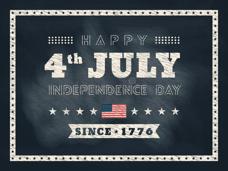 4th av bakgrund för svart tavla för Juli självständighetsdagen stock illustrationer
