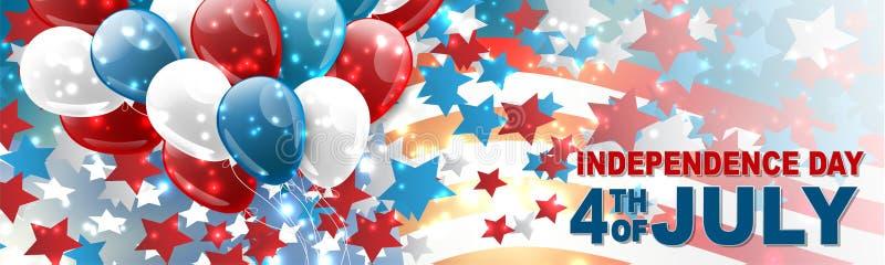 4th av banret för beröm för självständighetsdagen för Juli Förenta staterna det nationella med blåa, röda och vita ballonger, kon stock illustrationer