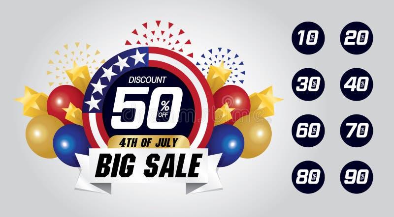 4th av den grafiska resursen Juli för stor försäljning royaltyfri illustrationer