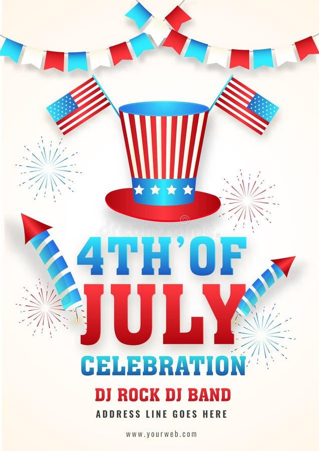 4th av den Juli berömmallen eller reklambladdesignen med illustrationen av hatten för farbror sam stock illustrationer
