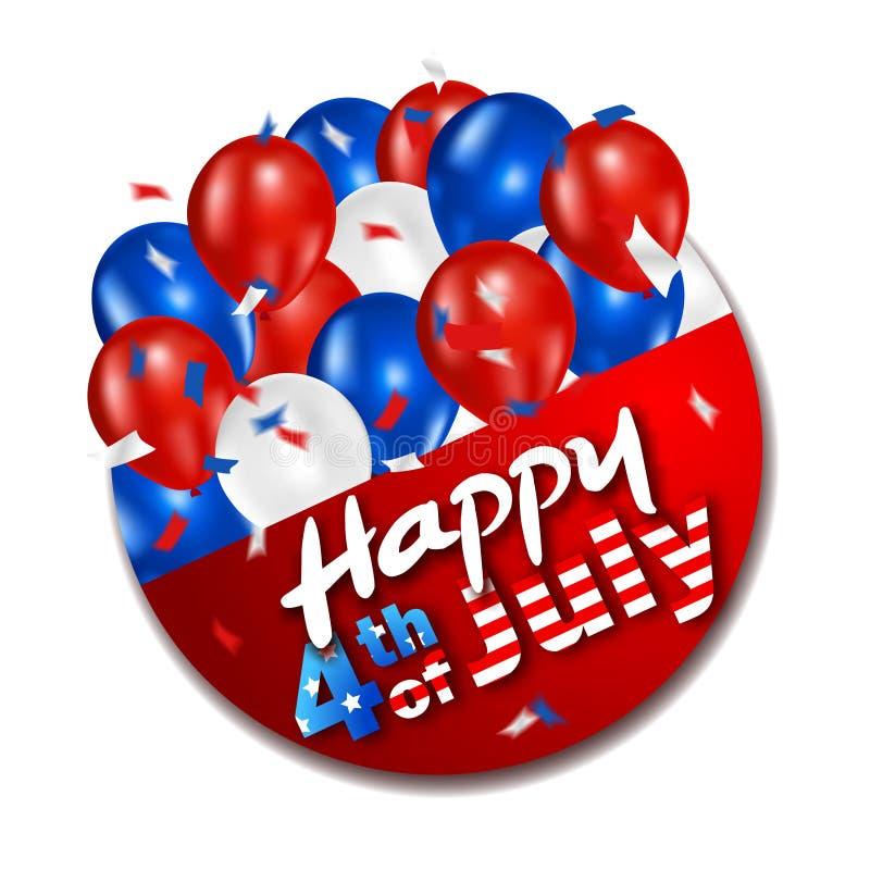 4th av den juli etiketten med ballonger arkivbild