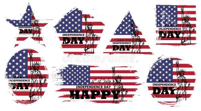 4th av den Juli självständighetsdagen av USA Ställ in av olik grungeform med den Amerika flaggan och design för frihetstatyteckni stock illustrationer