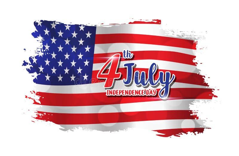 4th av den Juli textdesignen på abstrakt amerikanska flagganstilbackgrou vektor illustrationer
