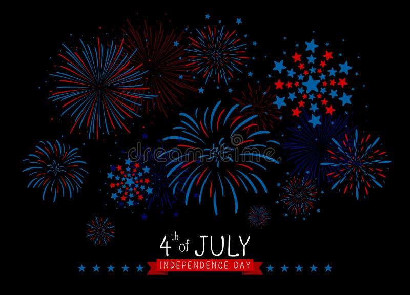 4th av den juli USA självständighetsdagendesignen av fyrverkerier på svart bakgrundsvektorillustration vektor illustrationer