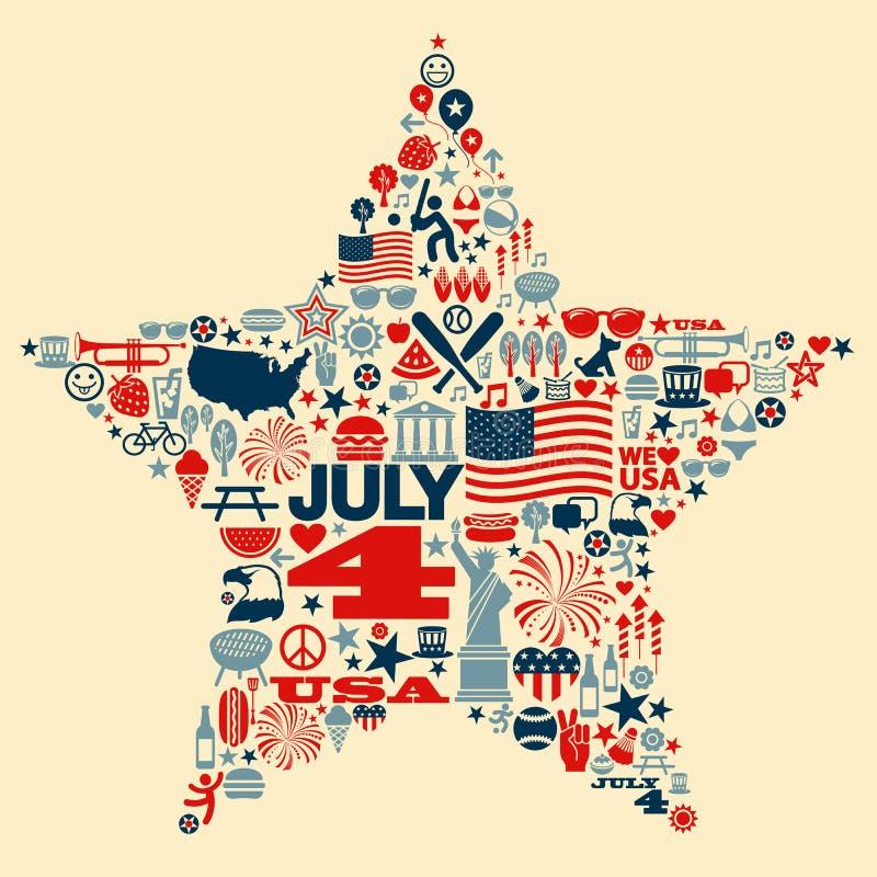 4th av densh illustrationen för collage för Juli symbolssymboler stock illustrationer