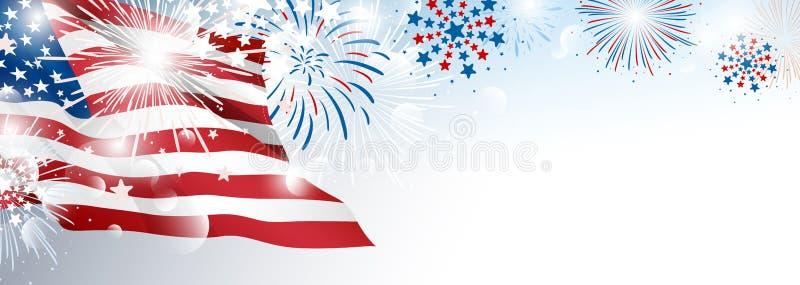 4th av designen för bakgrund för juli USA självständighetsdagenbaner av amerikanska flaggan med fyrverkerier royaltyfri illustrationer