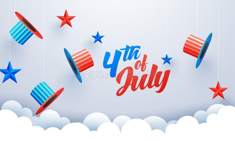 4th av designen för för det Juli berömbanret eller affischen med hattar för farbrodern sam och färgrika stjärnor dekorerade vektor illustrationer