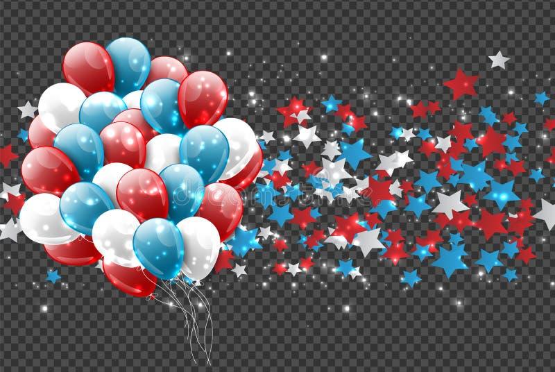 4th av garnering för nationell beröm för självständighetsdagen för Juli Förenta staterna glödande för website- eller annonseringt vektor illustrationer