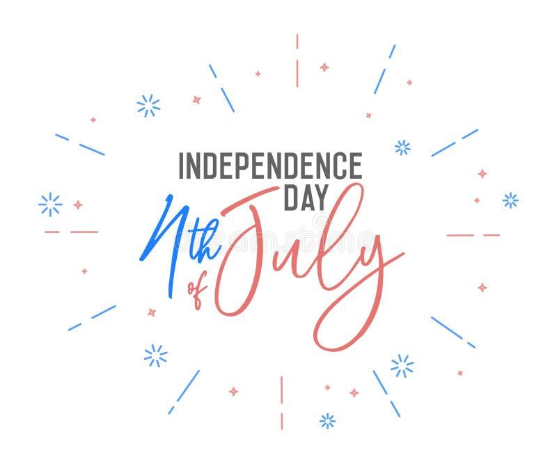 4th av Juli calligraphic text med den USA flaggan färgar Retro bakgrundsetikett för vektor för självständighetsdagen av USA stock illustrationer