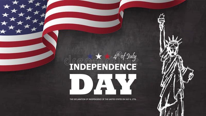 4th av Juli den lyckliga sj?lvst?ndighetsdagen av Amerika bakgrund Staty av frihetteckningsdesignen med text och den vinkande ame stock illustrationer