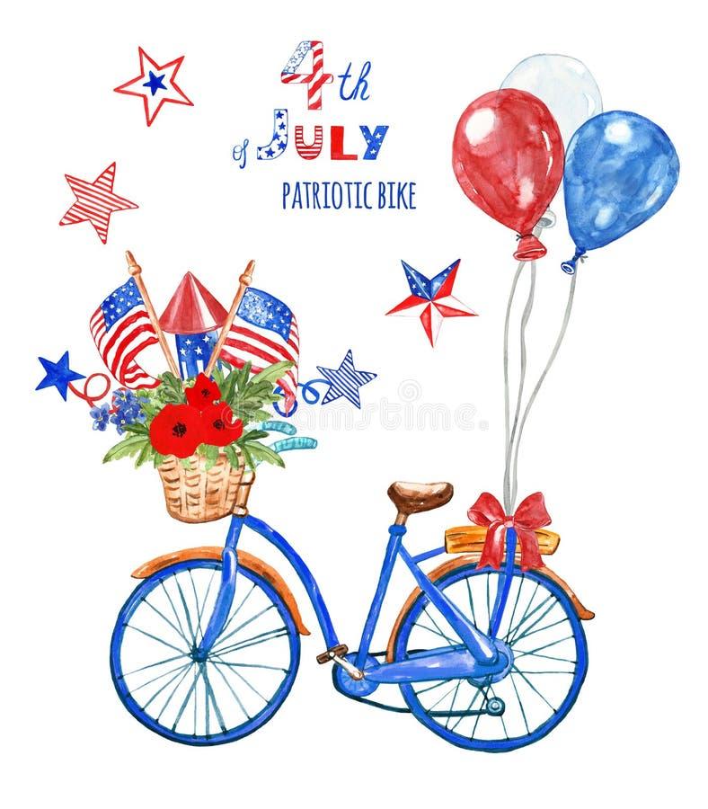 4th av juli den patriotiska cykeln Blå cykel för vattenfärg med ballonger den flaggor för USA röd, vit och blå, och vallmo som is royaltyfri illustrationer