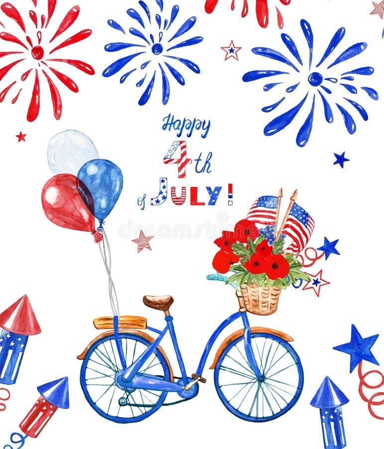 4th av juli den patriotiska cykeln Blå cykel för vattenfärg med ballonger den flaggor för USA röd, vit och blå, och vallmo som is arkivfoto