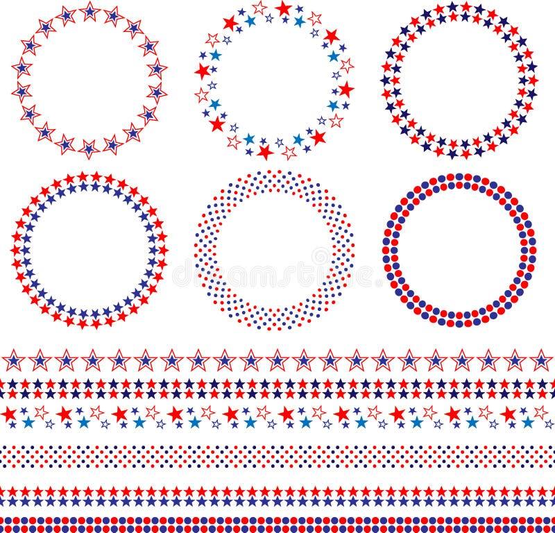 4th av Juli ramar och gränser royaltyfri illustrationer