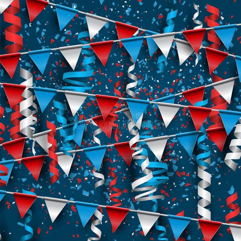4th av Juli USA självständighetsdagenberöm Vektorbakgrund med bunting, konfettier och band vektor illustrationer