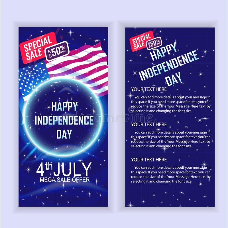 4th av mallen för design för Juli USA självständighetsdagenSale reklamblad för dina projekt royaltyfri illustrationer