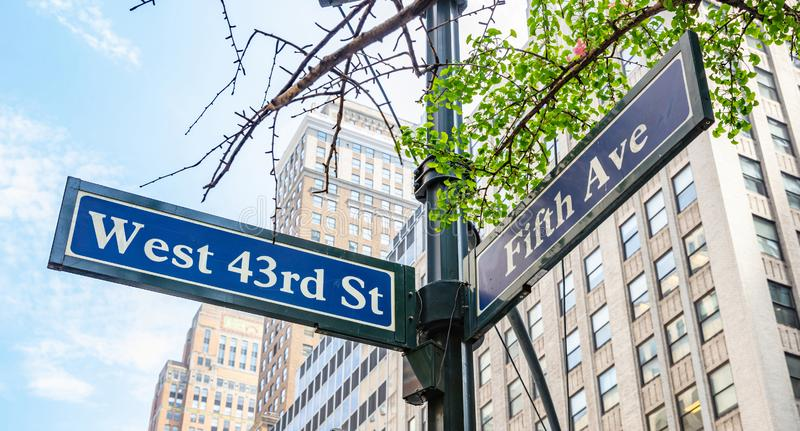 5th ave and W43 corner. Blue color street signs, Manhattan New York downtown. Fifth ave and West 43rd crossroads street signs, Manhattan New York downtown. Blur stock photo