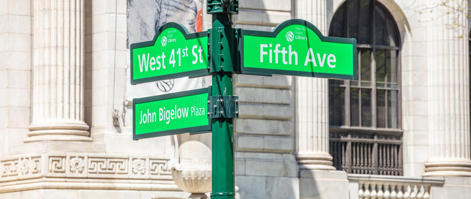 5th ave and W41, Manhattan New York downtown. Green color street signs. USA, New York. May 2, 2019. Fifth ave and West 41 crossroads street signs, Manhattan royalty free stock images