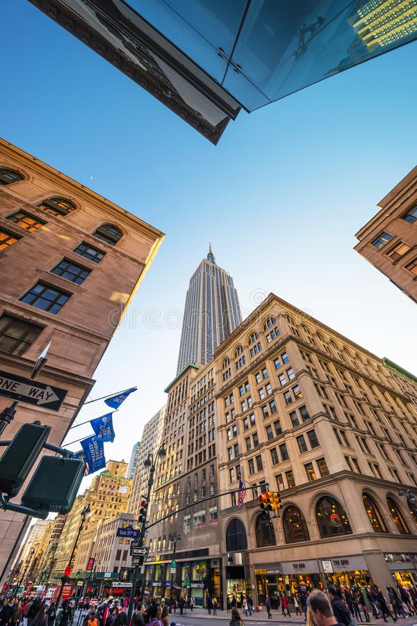 5th Avenue in Midtown Manhattan NYC. New York, USA - April 24, 2015: 5th Avenue in Midtown Manhattan, New York, NYC, USA royalty free stock photography