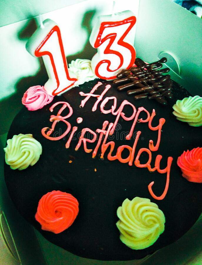 Fabulous 13Th Birthday Cake In Box Stock Photo Image Of Cake 176909656 Funny Birthday Cards Online Alyptdamsfinfo
