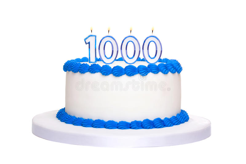 1000th birthday cake. Birthday cake with candles reading 1000 royalty free stock photo