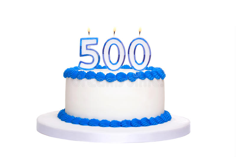 500th birthday cake. Birthday cake with candles reading 500 royalty free stock photography