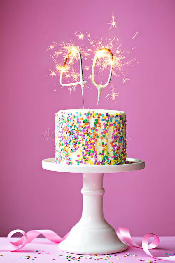 40th birthday cake. With sparklers stock images