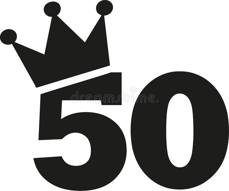 50th Birthday number crown. Vector royalty free illustration