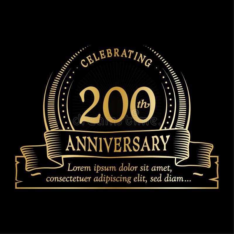 200th calibre de conception d'anniversaire 200 ans de logo 200 ans dirigent et illustration illustration libre de droits
