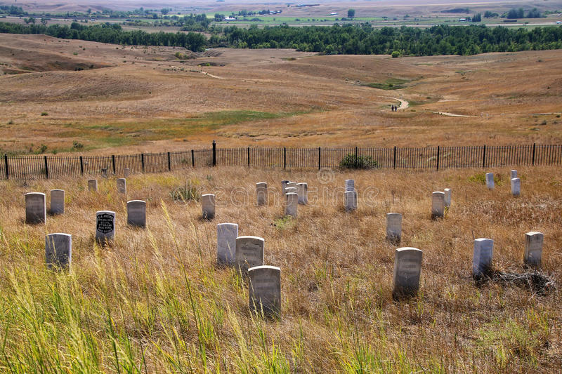 7th Cavalry marker stones at Little Bighorn Battlefield National royalty free stock photo
