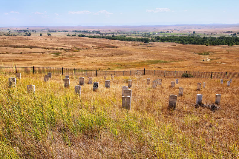7th Cavalry marker stones at Little Bighorn Battlefield National stock photos