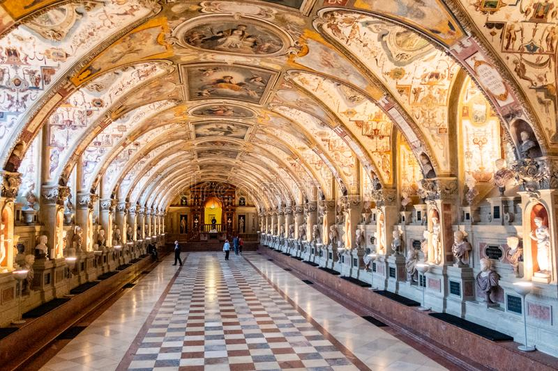 The 16th century Antiquarium Hall of Antiquities in the Residenz palace, Munich, Germany stock photography