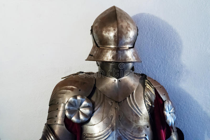 17th century armor. A close up of a 17th century Gothic plate armor stock photography