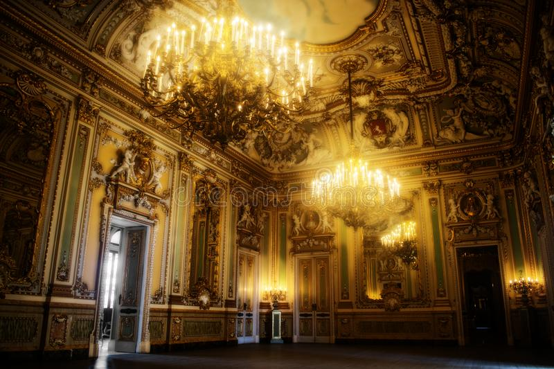 An 18th Century Ballroom. With big chandeliers stock photography