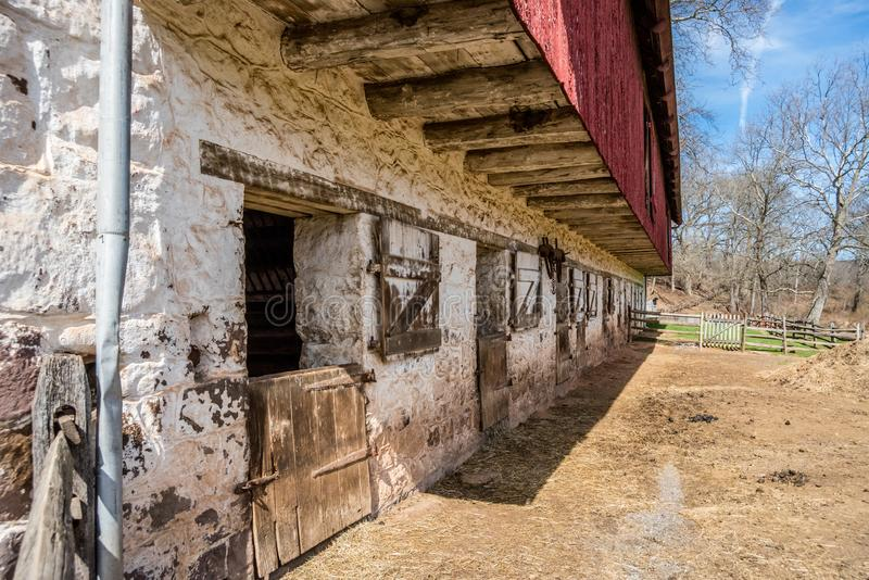 18th Century Barn at Hopewell Furnace National Historic Site stock image