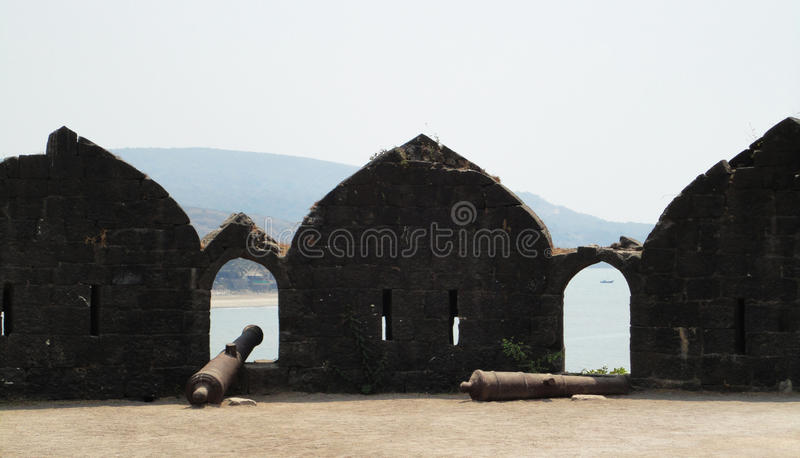 11th century cannon - Murud Janjira fort at Alibag, India. Fort built in the ocean at Alibag, India royalty free stock photography