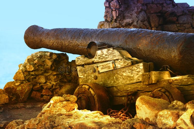 17th century cannon in Tosse. Spain royalty free stock image