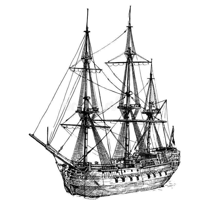 18th-century cargo ship stock illustration