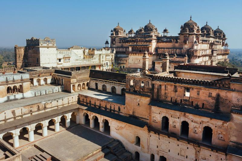 17th century Citadel of Jahangir with towers, Orchha in India. Example of Indian and Mughal style of architecture. 17th century Citadel of Jahangir with towers stock image