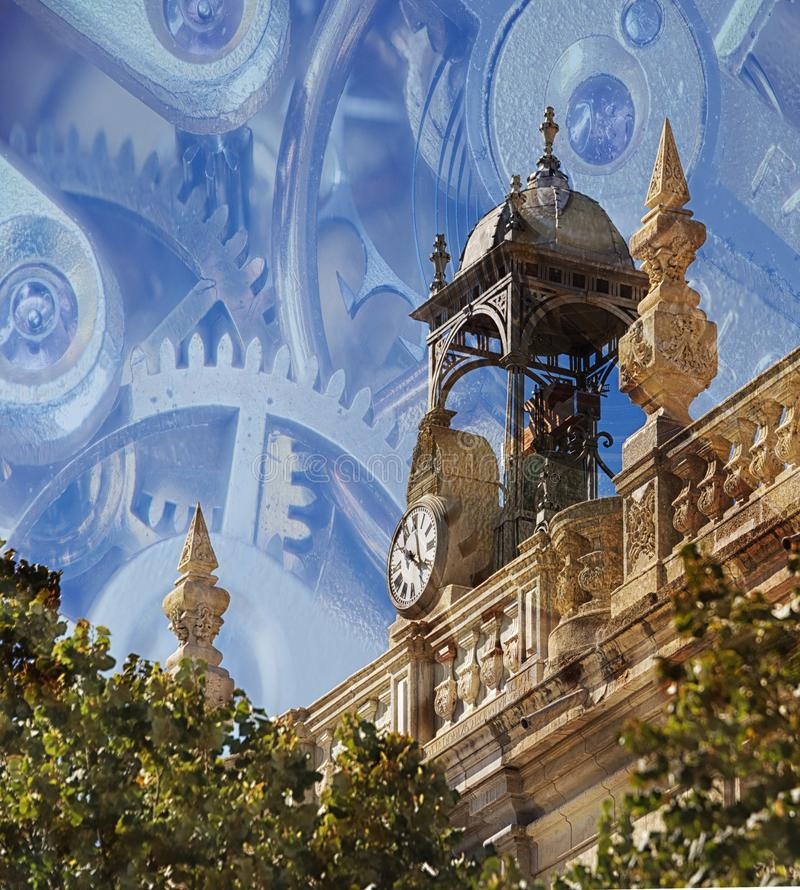 16th Century clock, with clockwork overlay. The 16th century clock, on top of theHigh Court of Justice of Andalusia in Granada, Spain. Overlaid is a clockwork royalty free stock photo