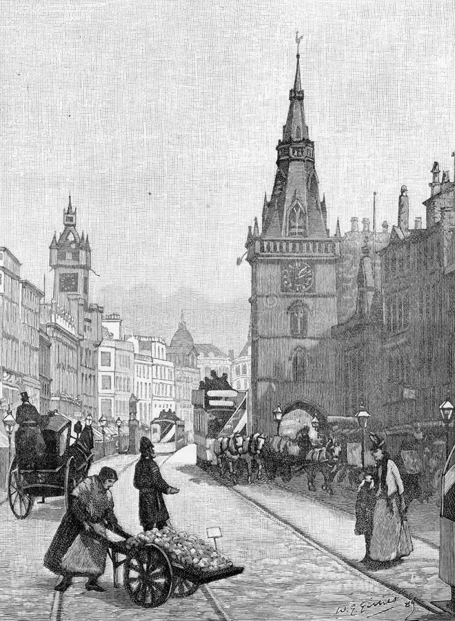 18th century glasgow. Street scene from 18th Century Glasgow, engraving from Selections from the Journal of John Wesley, 1891