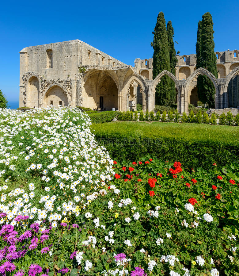 13th century Gothic monastery at Bellapais,northern cyprus 5 stock photo