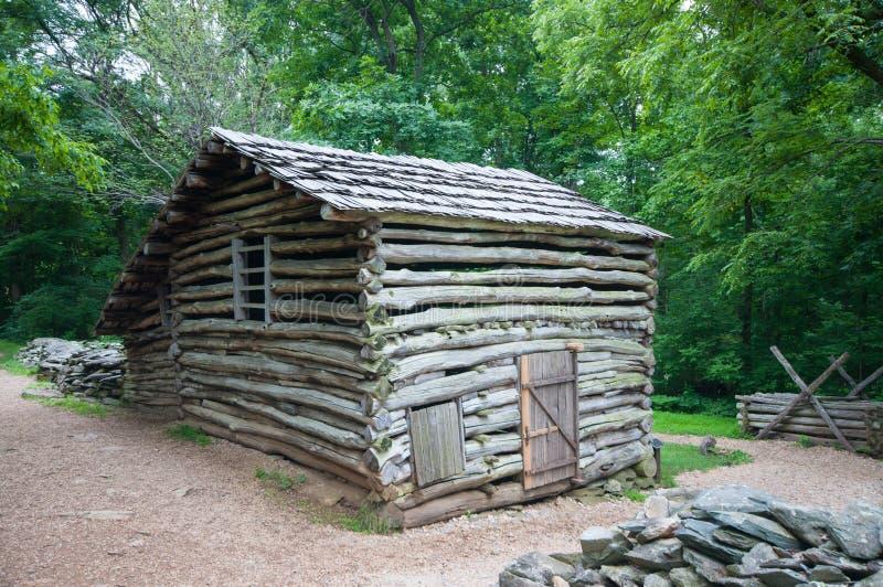 19th Century Log Barn in Appalachians 2. 19th Century Log Barn in Appalachians in Virginian stock photography