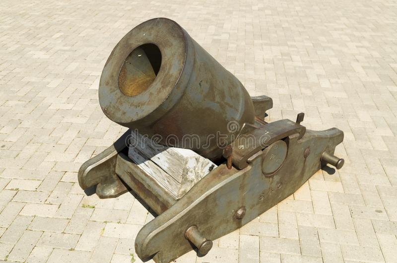 17th Century Mortar. Signal Hill was the site of harbour defences for St. John`s. This 17th Century Mortar is in the courtyard of the Citadel stock photography