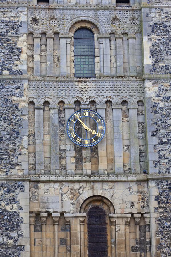 12th century Romanian style Church of St Mary the Virgin, clock tower, Dover, United Kingdom.  stock photography